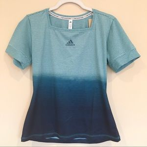 NWT Adidas Blue Ombre Striped Parley Tee